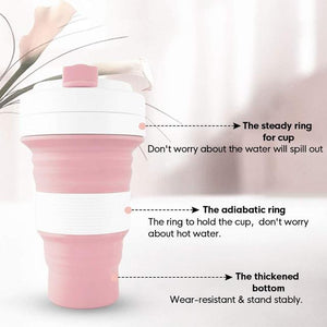 Collapsible Water Bottle Food-Grade Silicone Portable Leak Proof Travel Cup Mug