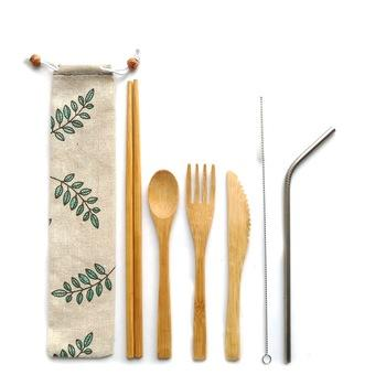 Bamboo Travel Utensils Cutlery Set: Reusable, Eco-Friendly, Lightweight, Portable + FREE Toothbrush
