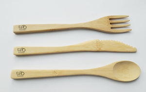 Eko Bamboo Travel Utensils Cutlery Set: Reusable, Eco-Friendly, Lightweight, Portable – Spoon, Fork, Knife, Metal Straw w/ Brush + FREE Toothbrush Eko Traveler