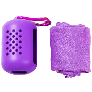 Eko Microfiber Towel. Fast Drying - Super Absorbent- Ultra Compact for Sports, Camping, Gym, Hiking w/ Silicone Case and Carabiner. Size 12x35 in. Eko Traveler Purple
