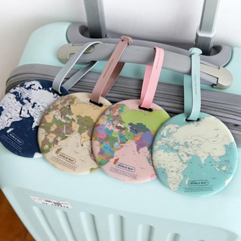 Tough PVC Round World Map Luggage Tags Suitcase Labels Bag Travel Accessories