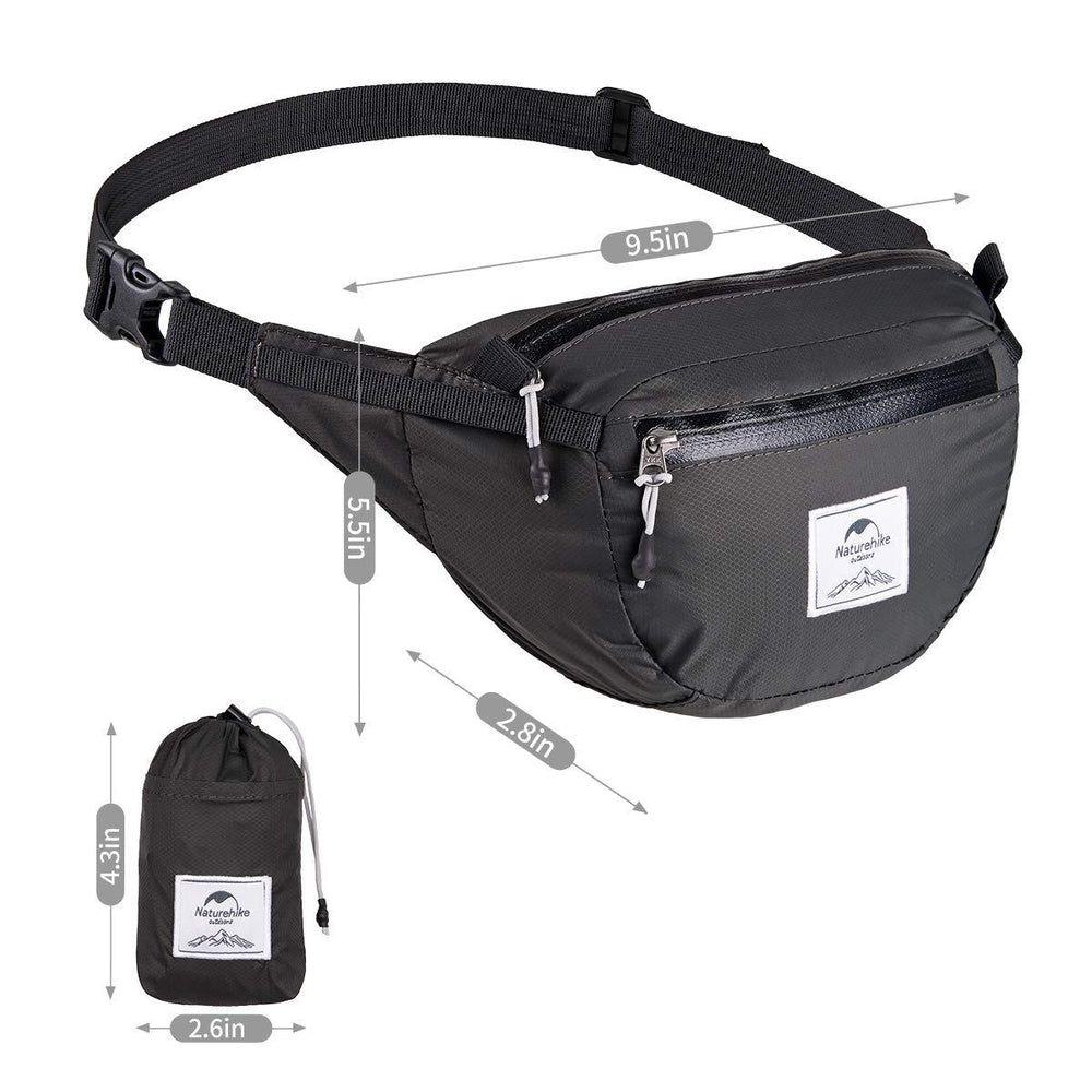 Foldable Travel Fanny Pack - Ultralight Packable Travel Waist Bag Multi-Functional Water Resistant Eko Traveler Black
