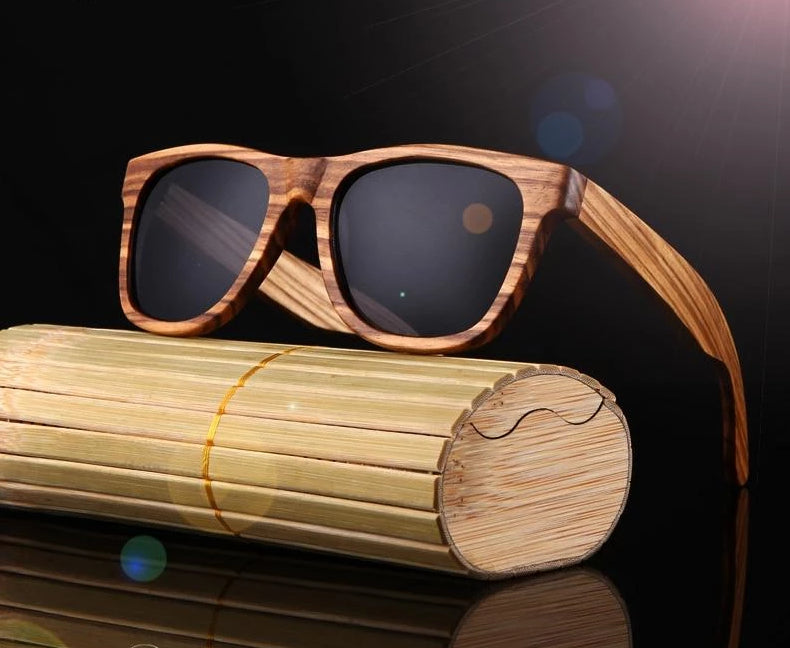 Unisex Wooden Polarized Sunglasses For Men & Women UV Protection w/ Carrying Pouch & Wooden Box