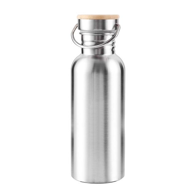 Leak-Proof Food Jar Flask Stainless Steel Water Bottle Bamboo Lid Sports For Travel Yoga Cycling Hiking Camping 350/500/750ml Eko Traveler China 350ml Silver
