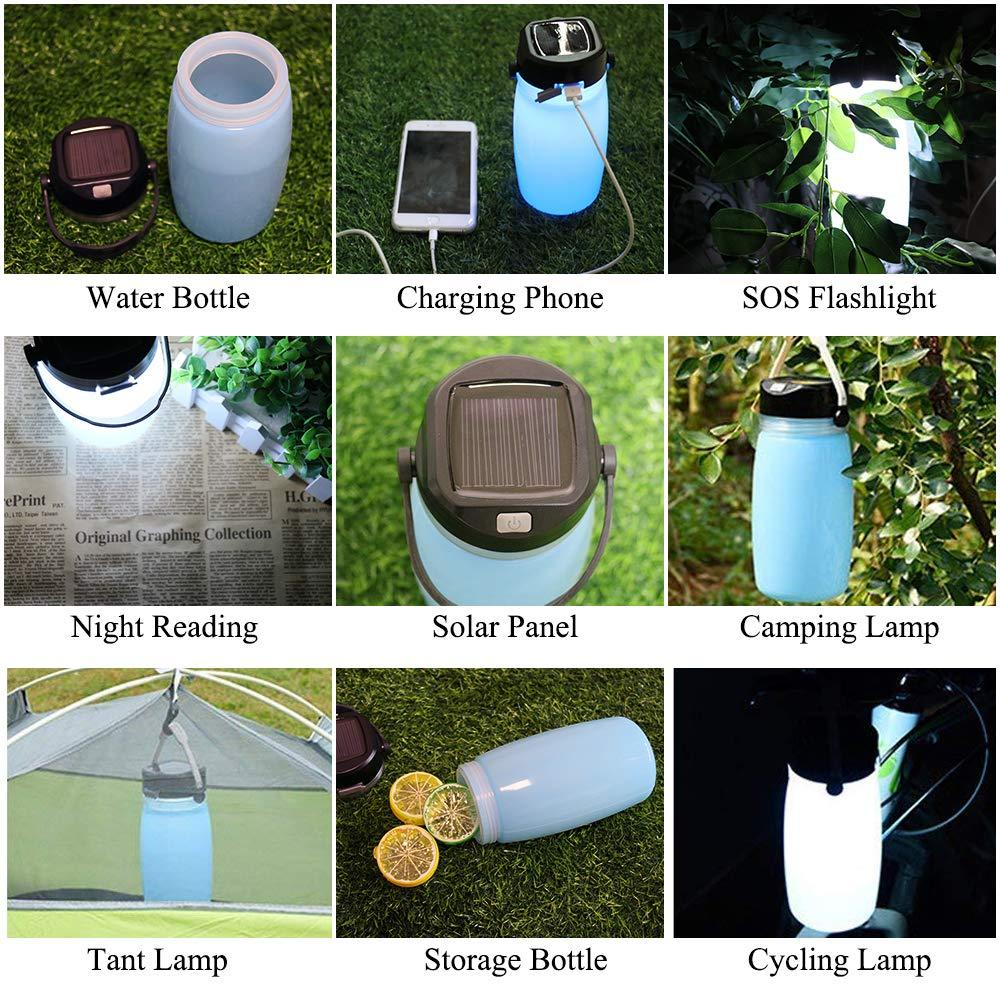 LED Solar Lantern Bottle, Silicone Travel Lamp USB Rechargeable Power Bank for Travel, Outdoor Eko Traveler