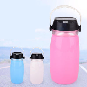 LED Solar Lantern Bottle, Silicone Travel Lamp USB Rechargeable Power Bank for Travel, Outdoor Eko Traveler Pink