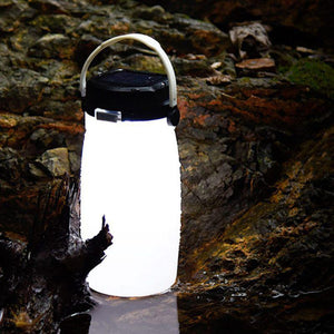 LED Solar Lantern Bottle, Silicone Travel Lamp USB Rechargeable Power Bank for Travel, Outdoor Eko Traveler White