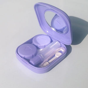 Mini Contact Lens Case w/ Built-in Mirror, Containers, Tweezers, Solution Bottle & Applicator Eko Traveler Purple