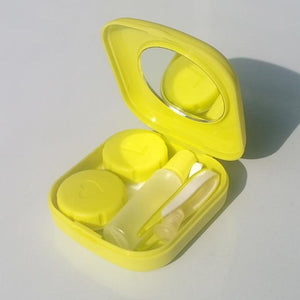 Mini Contact Lens Case w/ Built-in Mirror, Containers, Tweezers, Solution Bottle & Applicator Eko Traveler Yellow