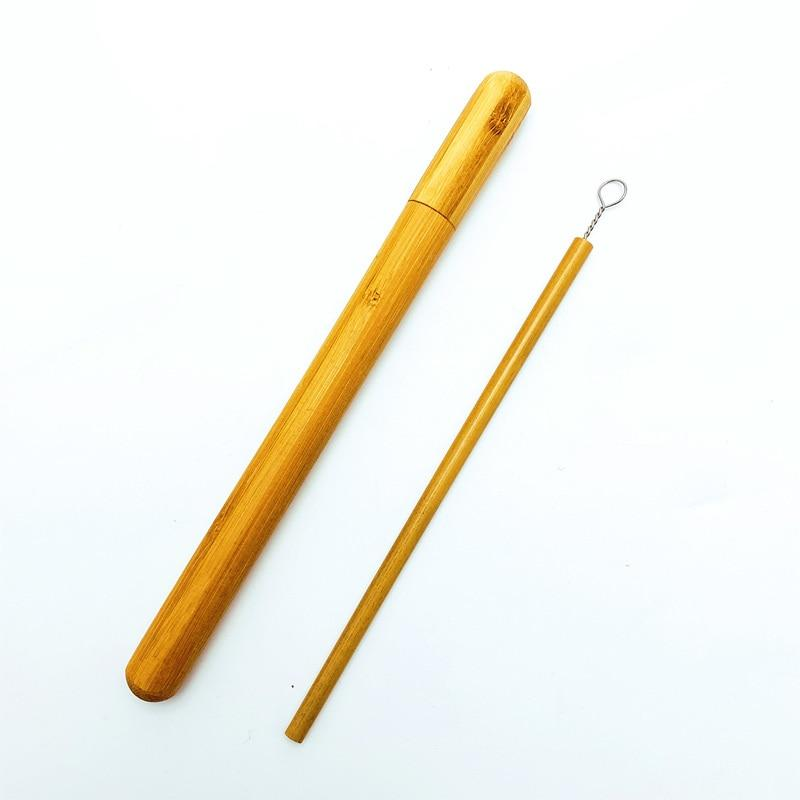 Natural Bamboo Drinking Straw w/ Organic Bamboo Tube Carrying Case - Portable, Biodegradable