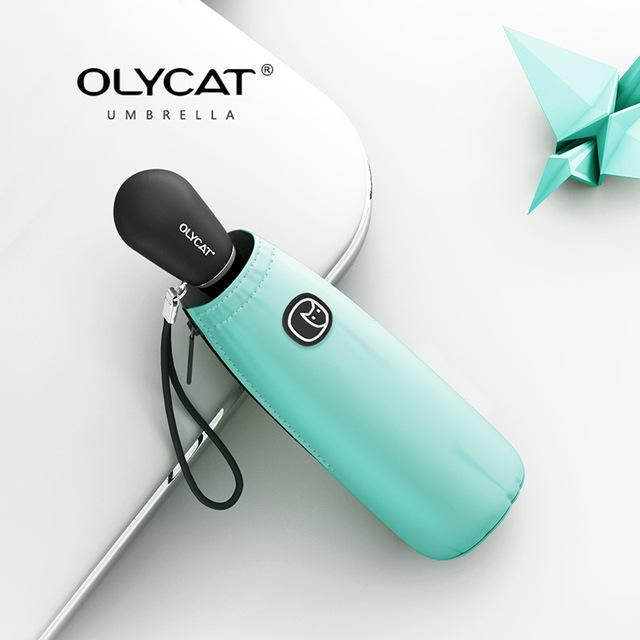 OLYCAT Colorful Mini Umbrella Rain Women Five Folding Sun Umbrella Kids Anti UV Travel Parasol Windproof Pocket Clear Umbrella Eko Traveler green