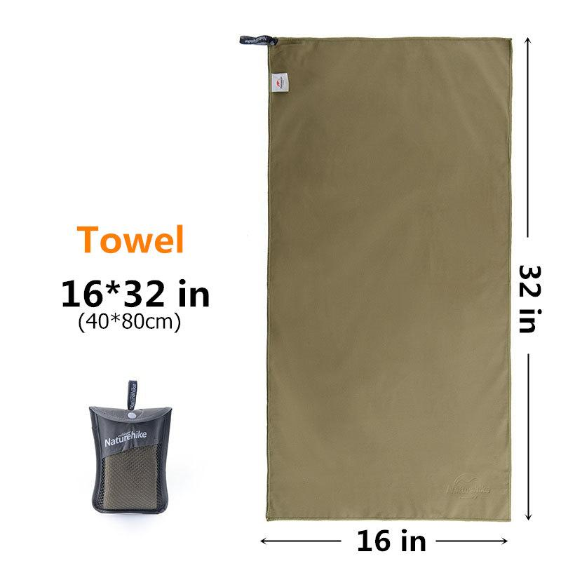 Outdoors Fast Drying Microfiber Travel Towel - Compact, Quick Dry, Super Absorbent, Antimicrobial Eko Traveler Army Green S-16x32in
