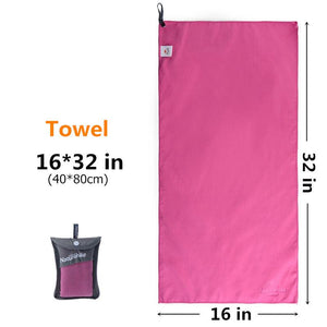 Outdoors Fast Drying Microfiber Travel Towel - Compact, Quick Dry, Super Absorbent, Antimicrobial Eko Traveler Rose Red S-16x32in