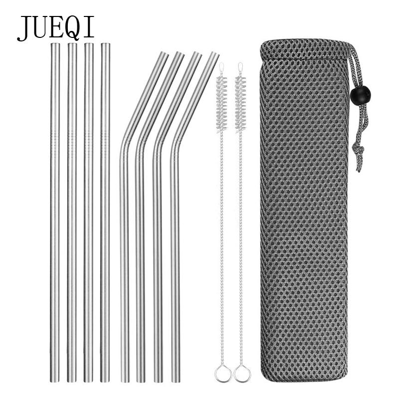 Reusable Stainless Steel Drinking Straws - Rushproof, Portable w/ Cleaning Brush & Carrying Pouch
