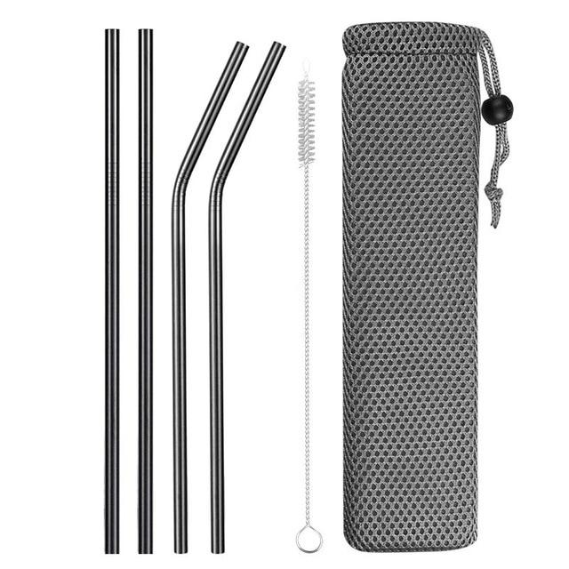Reusable Metal Drinking Straws 304 Stainless Steel Sturdy Bent Straight Drinks Straw with Cleaning Brush Bar Party Accessory Eko Traveler black D