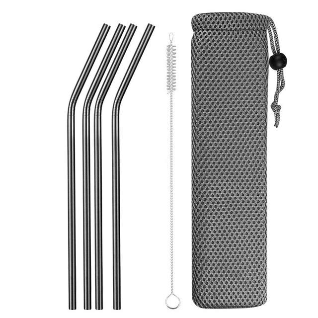 Reusable Metal Drinking Straws 304 Stainless Steel Sturdy Bent Straight Drinks Straw with Cleaning Brush Bar Party Accessory Eko Traveler black E