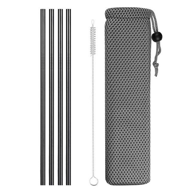 Reusable Metal Drinking Straws 304 Stainless Steel Sturdy Bent Straight Drinks Straw with Cleaning Brush Bar Party Accessory Eko Traveler black F