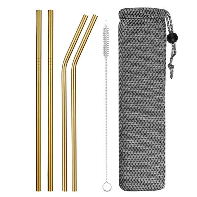 Reusable Metal Drinking Straws 304 Stainless Steel Sturdy Bent Straight Drinks Straw with Cleaning Brush Bar Party Accessory Eko Traveler gold D