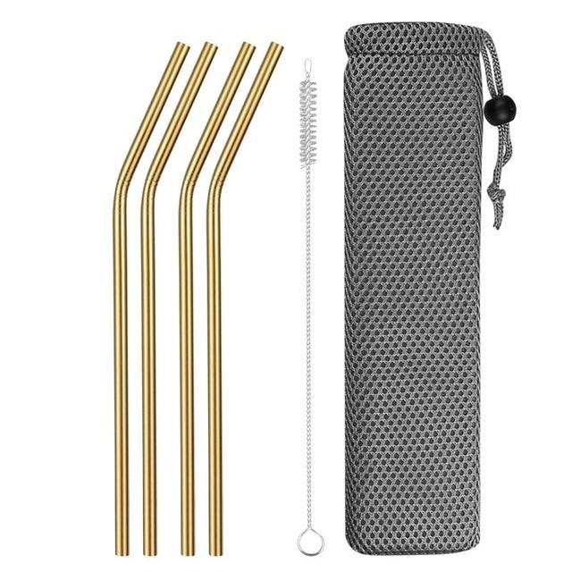 Reusable Metal Drinking Straws 304 Stainless Steel Sturdy Bent Straight Drinks Straw with Cleaning Brush Bar Party Accessory Eko Traveler gold E