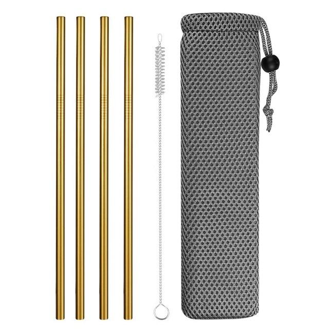 Reusable Metal Drinking Straws 304 Stainless Steel Sturdy Bent Straight Drinks Straw with Cleaning Brush Bar Party Accessory Eko Traveler gold F