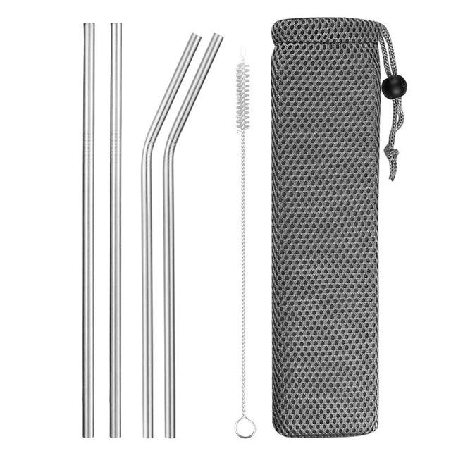 Reusable Metal Drinking Straws 304 Stainless Steel Sturdy Bent Straight Drinks Straw with Cleaning Brush Bar Party Accessory Eko Traveler silver A