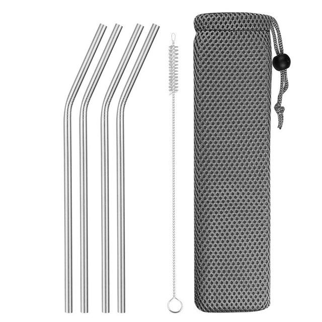 Reusable Metal Drinking Straws 304 Stainless Steel Sturdy Bent Straight Drinks Straw with Cleaning Brush Bar Party Accessory Eko Traveler silver B