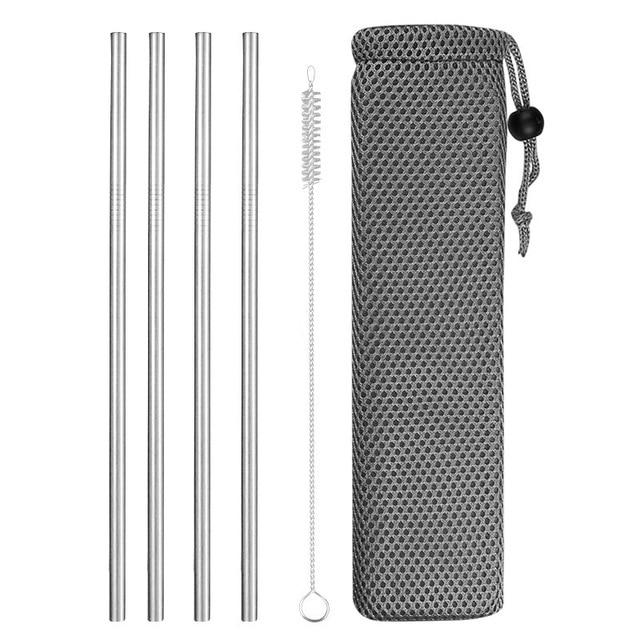 Reusable Metal Drinking Straws 304 Stainless Steel Sturdy Bent Straight Drinks Straw with Cleaning Brush Bar Party Accessory Eko Traveler silver C