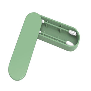 "Reusable Silicone ""Cotton"" Swabs, Ear Cleaning Makeup Applicator Silicone Buds Double-Tipped w/ Case Eko Traveler Green"