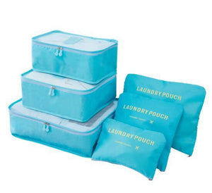 Travel Cube Set - 6 Piece Eko Traveler light blue