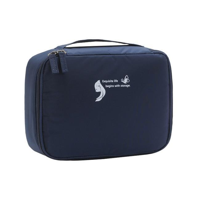 Travel Makeup Cosmetic Storage Bag Organizer Portable Waterproof Adjustable Divider Large Capacity Eko Traveler Navy Blue