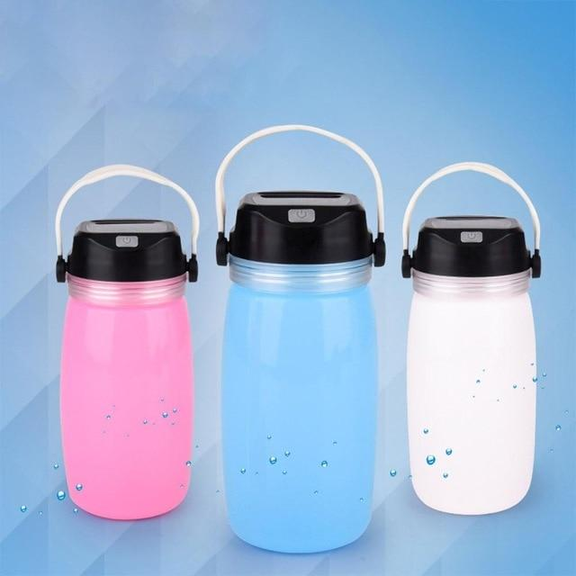 LED Solar Lantern Bottle, Silicone Travel Lamp USB Rechargeable Power Bank for Travel, Outdoor