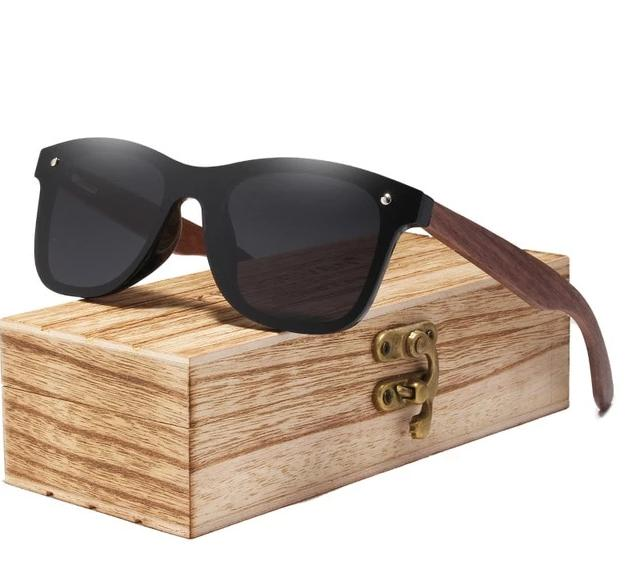 Walnut Wood Polarized Sunglasses For Men & Women UV Protection w/ Carrying Pouch & Wooden Box Eko Traveler Black Walnut Wood