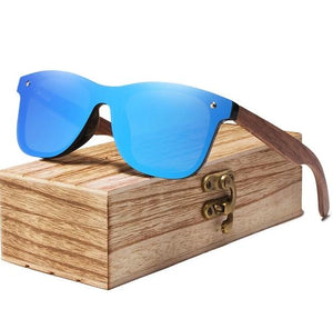 Walnut Wood Polarized Sunglasses For Men & Women UV Protection w/ Carrying Pouch & Wooden Box Eko Traveler Blue Walnut Wood