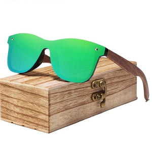 Walnut Wood Polarized Sunglasses For Men & Women UV Protection w/ Carrying Pouch & Wooden Box Eko Traveler Green Walnut Wood