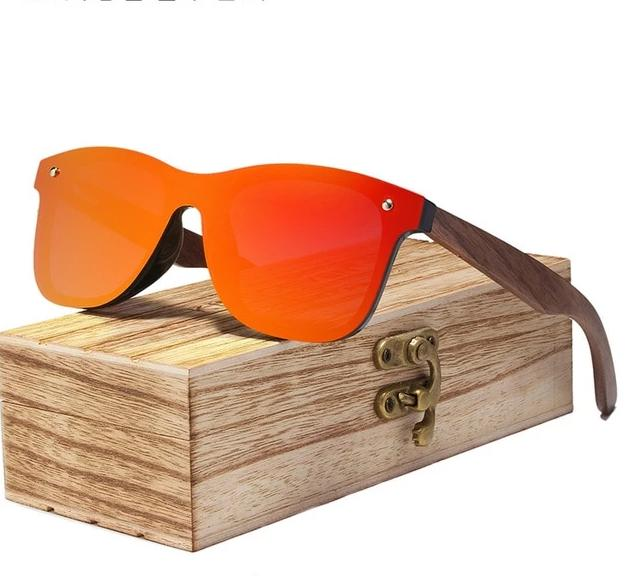 Walnut Wood Polarized Sunglasses For Men & Women UV Protection w/ Carrying Pouch & Wooden Box Eko Traveler Red Walnut Wood