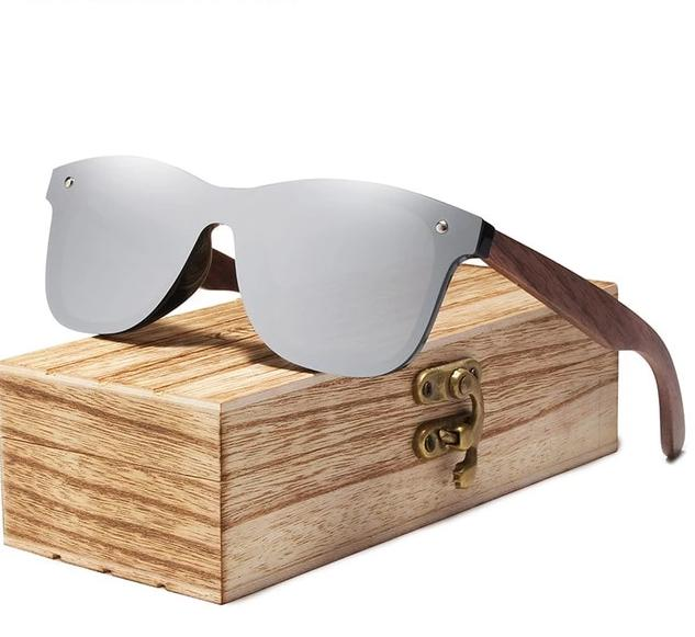 Walnut Wood Polarized Sunglasses For Men & Women UV Protection w/ Carrying Pouch & Wooden Box Eko Traveler Silver Walnut Wood
