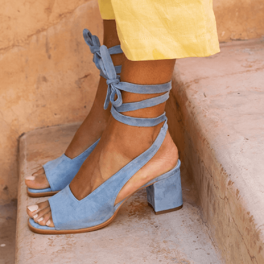 Open Toe Bandage Suede Mid-heel Shoes