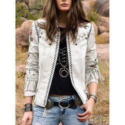 Autumn Long Sleeve Stand Collar Tassel Jacket