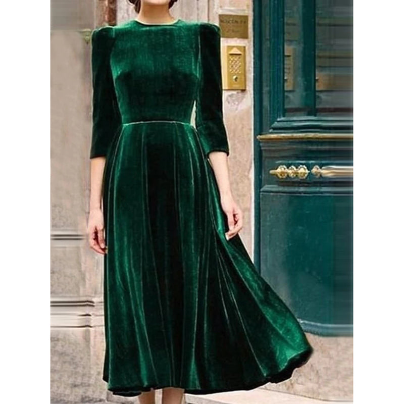 Elegant Slim Solid Color Maxi Dress