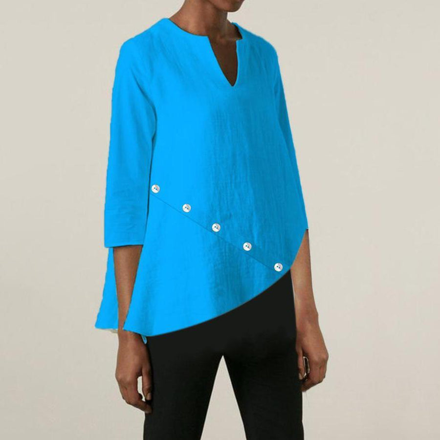 Summer V-Neck 3/4 Sleeve Solid Color Blouse