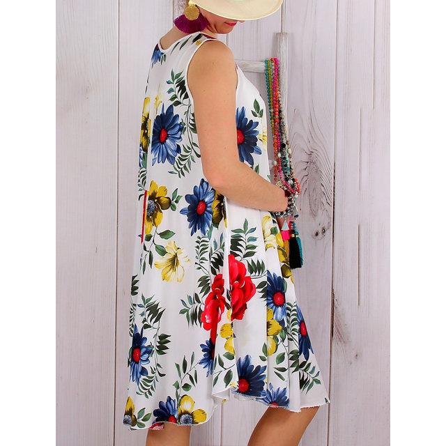 Plus Size Beach Women Summer Midi Floral Dresses