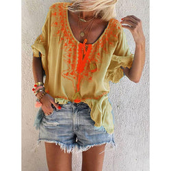 Casual Fringed Round Neck Blouse