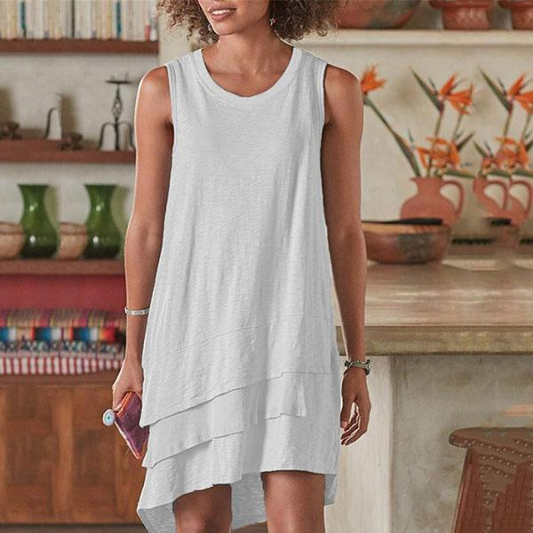 Sleeveless Irregular Hem Loose Dress