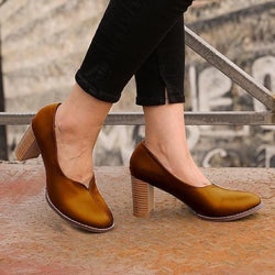 All Season Women Slip-On Comfy Chunky Heel Shoes