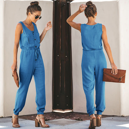 Summer Chiffon Sleeveless V-neck Waist Jumpsuit