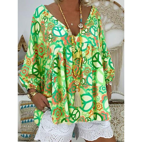 Plus Size Long Sleeve Loose Printed Blouses