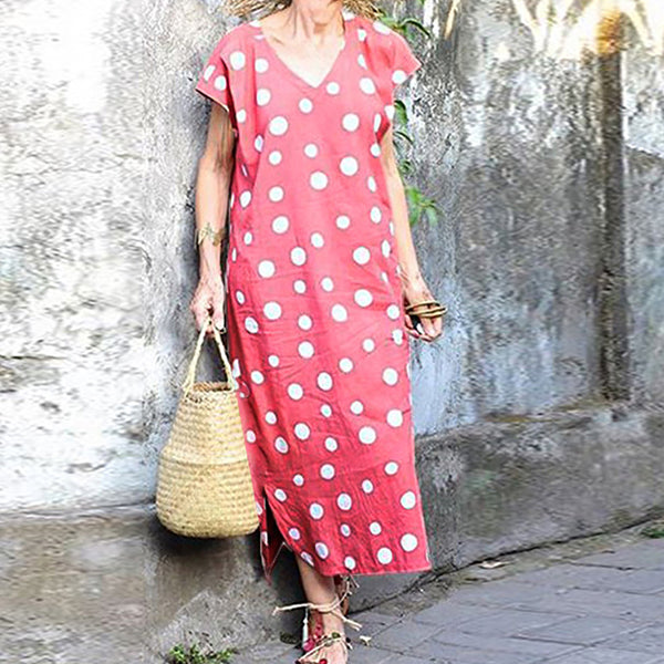 Elegant V-Neck Dot Printed Dress