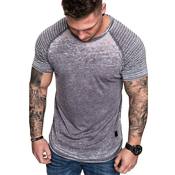 Mens Casual Striped Fold Raglan Short Sleeve Solid Color T-Shirts