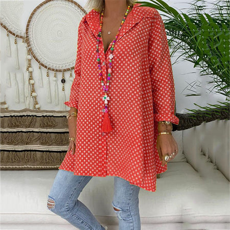 Summer Polka Dot Cotton Printed Plus Size Shirt
