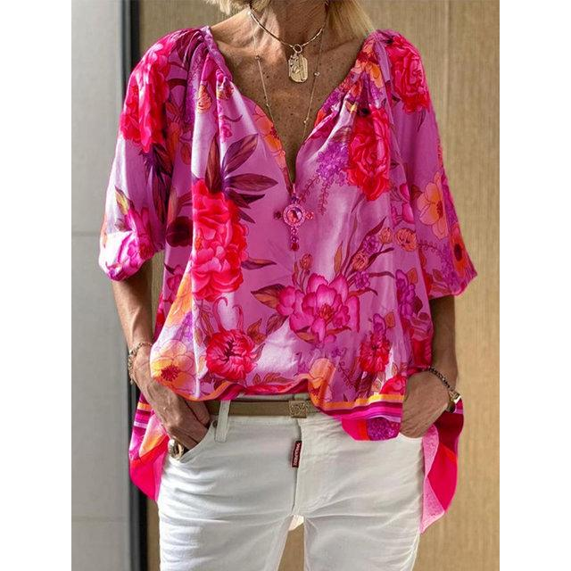 Floral Printed V-Neck Mid-Length Half Sleeve Blouse